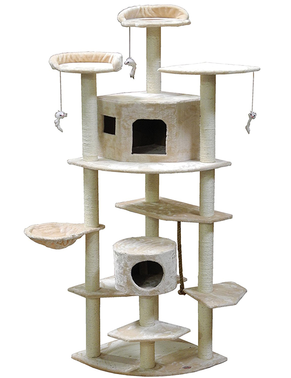 it offers two cat condos scratching posts hanging cat toys hammocks and multiple platforms  the best cat condos   reviews and top tips for buying the right one  rh   thehappycatsite